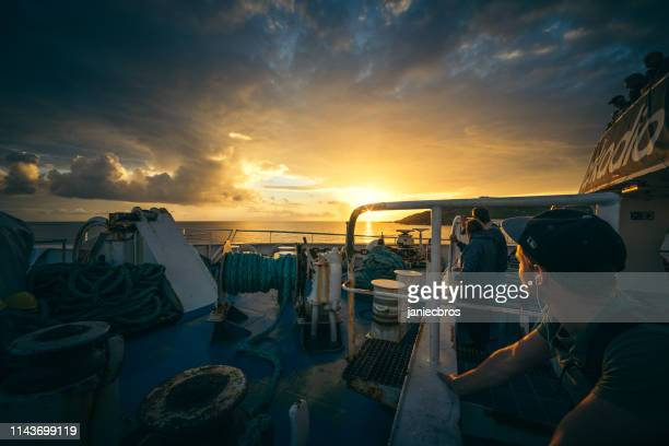 Sea sunset. Epic view from a boat