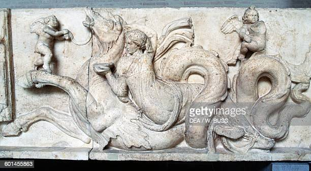 Sea thiasos for the wedding of Poseidon and Amphitrite detail Altar of Domitius Ahenobarbus frieze Roman civilisation 2nd century bC Monaco Glyptothek