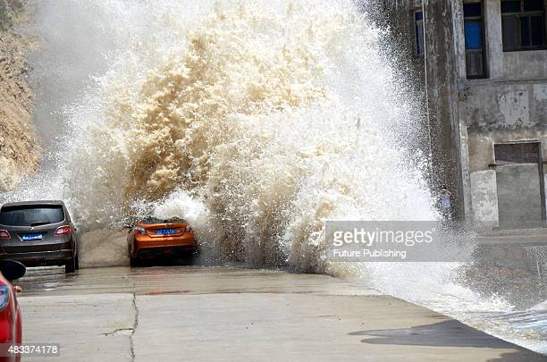 Sea tides strengthened by the approaching supertyphoon Soudelor as it hits the shore in Wenling on August 07 2015 in Zhejiang province China Soudelor...