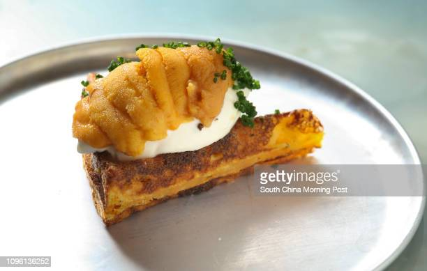 Sea Urchin and Sweet Potato Waffle with Smoked Bacon Cream at Belon 41 Elgin Street Central 20MAR16 SCMP/Nora Tam [28MARCH2016 FEATURES First Served]