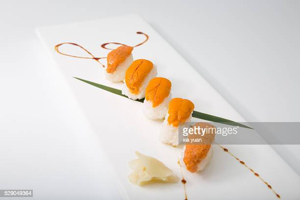 sea urchin sushi - sea urchin stock pictures, royalty-free photos & images