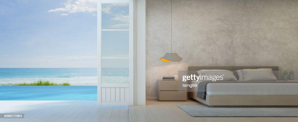 Meer Blick Schlafzimmer Mit Terrasse In Luxusstrandhaus Modernes ...
