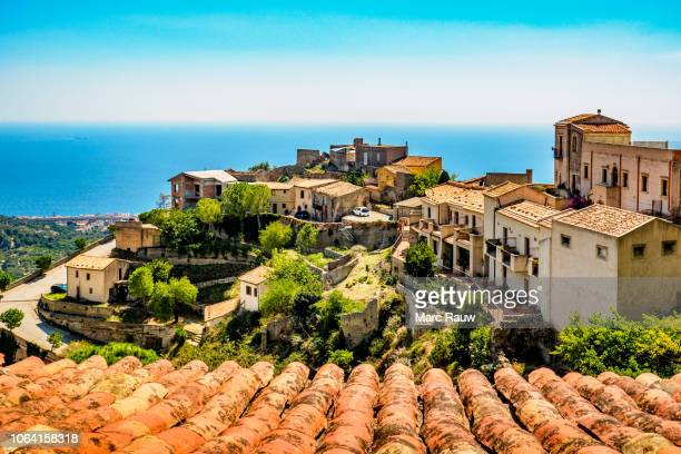 sea view from the sicilian village savoca (known from the godfather movies) - sicily stock pictures, royalty-free photos & images