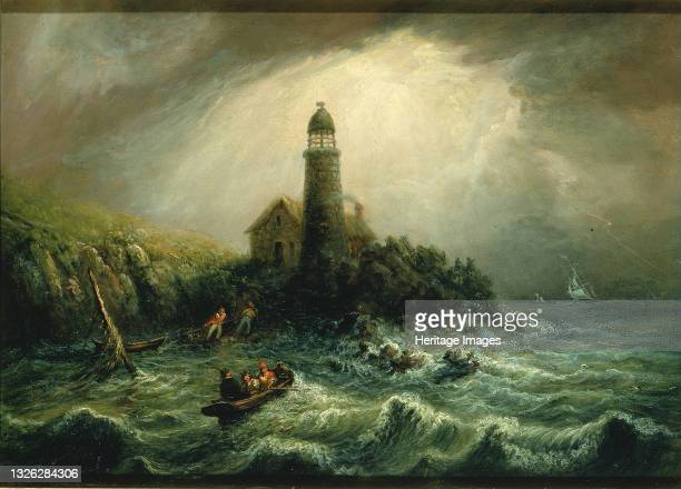 Sea View of Cape Poge Lighthouse, ca. 1840-1849. Artist Charles Hubbard.