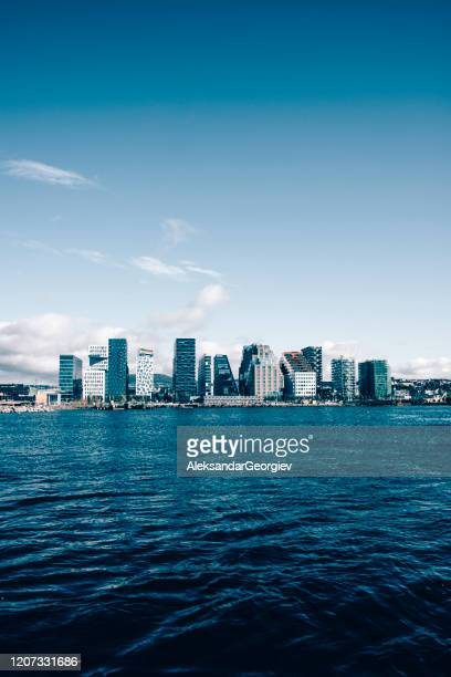 sea view of oslo, norway - nobel prize stock pictures, royalty-free photos & images