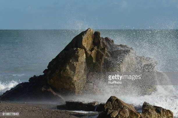 Sea water craches into a rock at Killiney beach On Thursday February 15 Dublin Ireland
