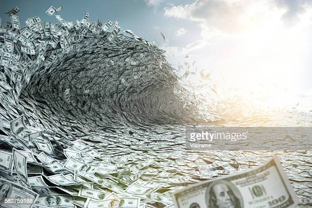 sea wave made of money - bearbeitungstechnik stock-fotos und bilder