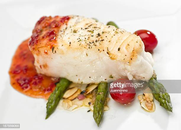 Seabass Fillet of  in sweet and sour sauce with asparagus