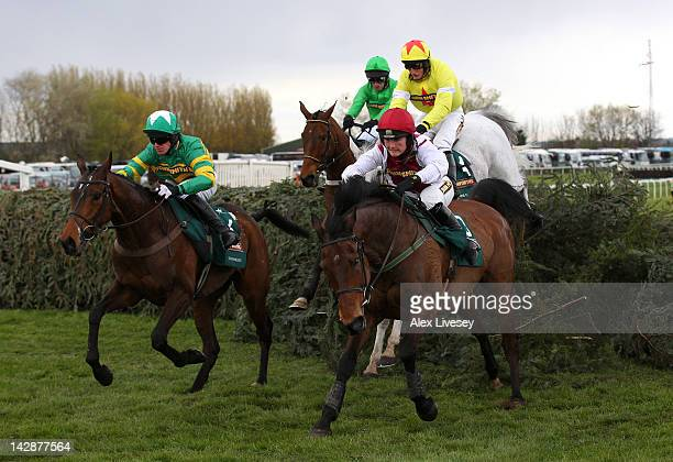 Seabass ridden by Katie Walsh clears the last fence alongside Sunnyhillboy ridden by Ritchie McLernon and ahead of eventual winner Neptune Collonges...