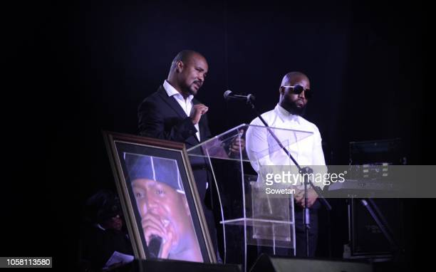 Seabelo Modibe from Botswana and Cassper Nyovest during the funeral service of the late musician Jabulani 'HHP' Tsambo at Mmabatho Convention Centre...