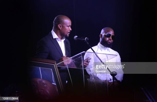 Seabelo Modibe from Botswana and Cassper Nyovest pay a tribute during the funeral service of the late musician Jabulani 'HHP' Tsambo at Mmabatho...