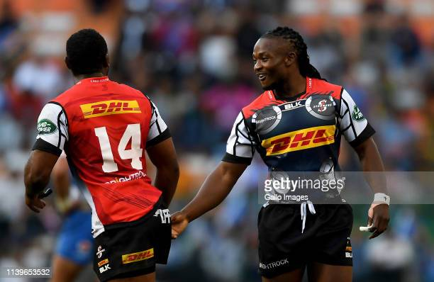 Seabelo Senatla of DHL Stormers and Sergeal Petersen of DHL Stormers during the Super Rugby match between DHL Stormers and Vodacom Bulls at DHL...