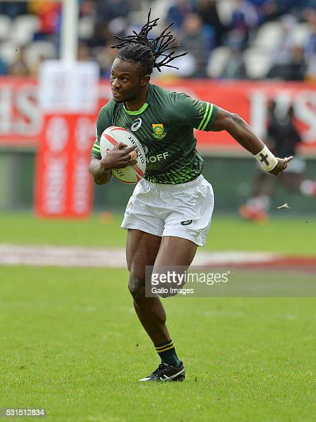 Seabelo Senatla of South Africa during the cup quarter final match between South Africa and Samoa on day 3 of the HSBC World Rugby Sevens France at...