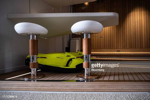 Seabob high performance water sleds manufactured by Cayago AG sit on the 'Beach Club' deck of luxury superyacht Metis manufactured by Azimut Benetti...