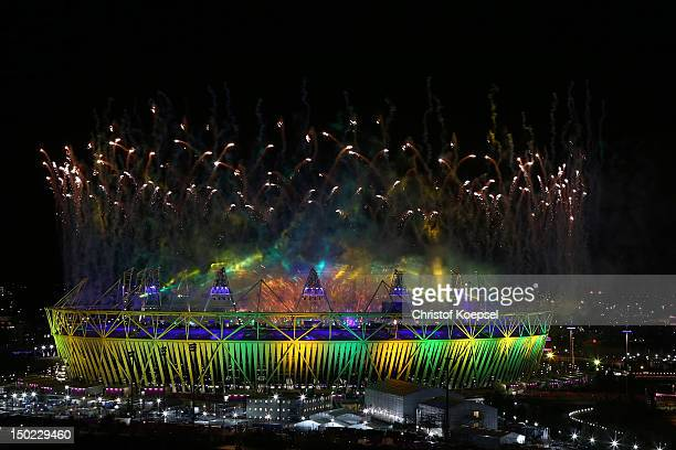 Seachlights over the Olympic Stadium during the closing ceremony of the 2012 London Olympic Games on August 12, 2012 in London, England. Athletes,...