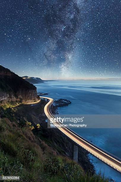 seacliff bridge night - wollongong stock pictures, royalty-free photos & images
