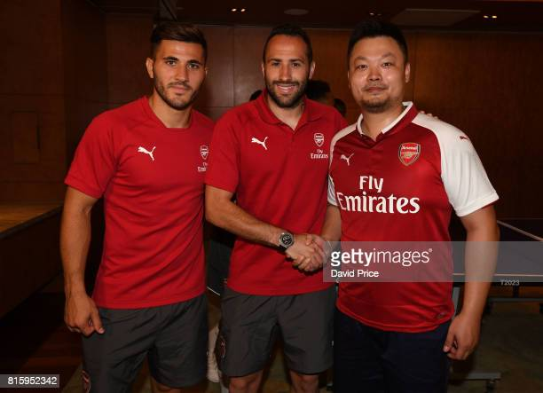 Sead Kolasinac and David Ospina with of Arsenal with a local Table Tennis teacher Li Cheng Peng during a Table Tennis exhibition in the Manderin...