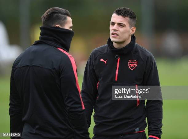 Sead Kolasinac and Granit Xhaka of Arsenal during a training session at London Colney on February 14 2018 in St Albans United Kingdom