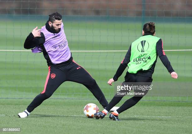 Sead Kolasinac and Hector Bellerin of Arsenal during a training session at London Colney on March 14 2018 in St Albans England