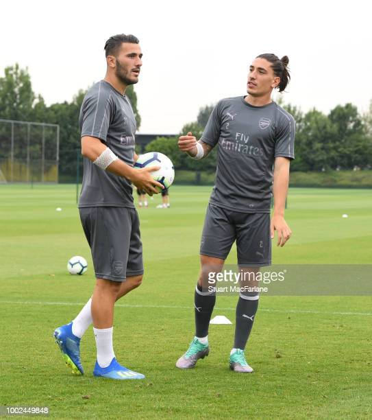 Sead Kolasinac and Hetor Bellein of Arsenal during a training session at London Colney on July 20 2018 in St Albans England