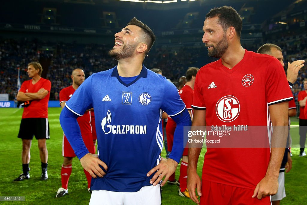 Sead Kolasinac and Kevin Kuranyi are seen after the 20 years of Eurofighter match between Eurofighter and Friends and Euro All Stars at Veltins Arena on May 21, 2017 in Gelsenkirchen, Germany.