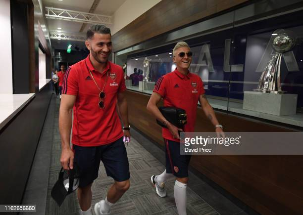 Sead Kolasinac and Mesut Oezil before the match between Arsenal and Bayern Munich in the International Champions Cup at the Dignity Health Sports...