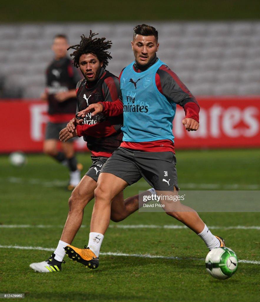 Sead Kolasinac and Mohamed Elneny of Arsenal during the Arsenal Training Session at Koragah Oval on July 11, 2017 in Sydney, Australia.