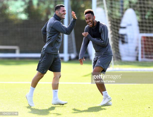 Sead Kolasinac and PierreEmerick Aubameyang of Arsenal during a training session at London Colney on September 28 2018 in St Albans England