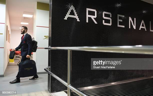 Sead Kolasinac arrives in the Arsenal changing room before the Premier League match between Arsenal and Watford at Emirates Stadium on March 10 2018...
