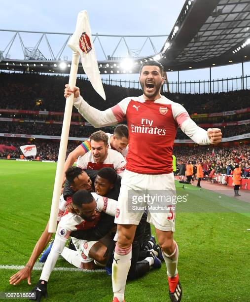 Sead Kolasinac celebrates the 3rd Arsenal goal during the Premier League match between Arsenal FC and Tottenham Hotspur at Emirates Stadium on...