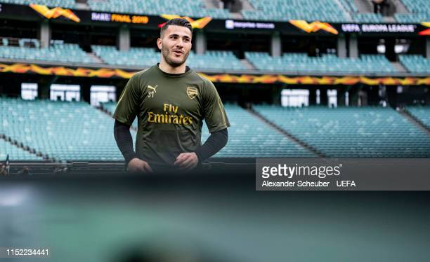 Sead Kolasinac is seen during Arsenal training session prior to the UEFA Europa League Final between Chelsea and Arsenal at Baku Olimpiya Stadionu on...