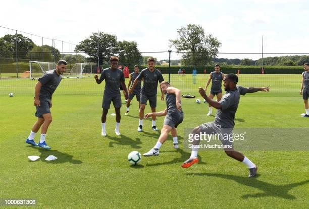 Sead Kolasinac Jeff ReineAdelaide Konstantinos Mavropanos Shkodran Mustafi and Alex Lacazette of Arsenal during a training session at London Colney...