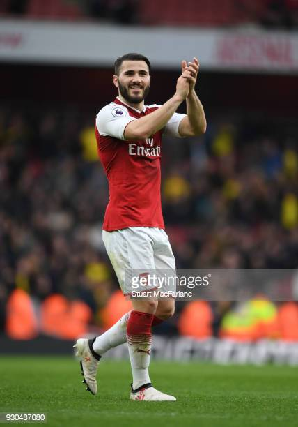 Sead Kolasinac of Arsenal after the Premier League match between Arsenal and Watford at Emirates Stadium on March 10 2018 in London England