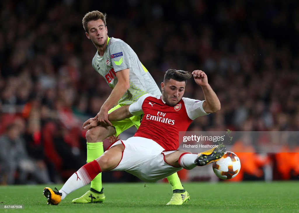 Sead Kolasinac of Arsenal and Frederik Sorensen of FC Koeln during the UEFA Europa League group H match between Arsenal FC and 1. FC Koeln at Emirates Stadium on September 14, 2017 in London, United Kingdom.