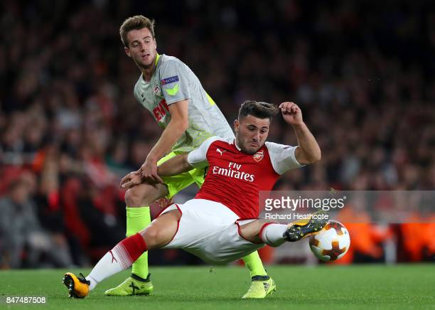 Sead Kolasinac of Arsenal and Frederik Sorensen of FC Koeln during the UEFA Europa League group H match between Arsenal FC and 1 FC Koeln at Emirates...