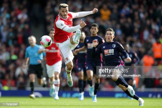 Sead Kolasinac of Arsenal and Harry Wilson of Bournemouth during the Premier League match between Arsenal FC and AFC Bournemouth at Emirates Stadium...