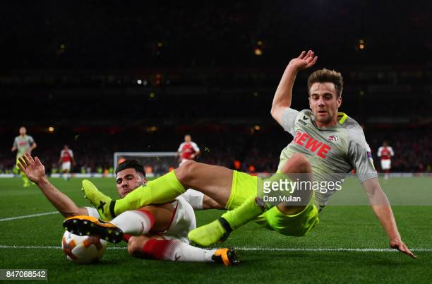 Sead Kolasinac of Arsenal and Lukas Klunter of FC Koeln during the UEFA Europa League group H match between Arsenal FC and 1 FC Koeln at Emirates...