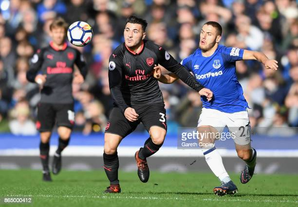 Sead Kolasinac of Arsenal and Nikola Vlasic of Everton battle for possession during the Premier League match between Everton and Arsenal at Goodison...