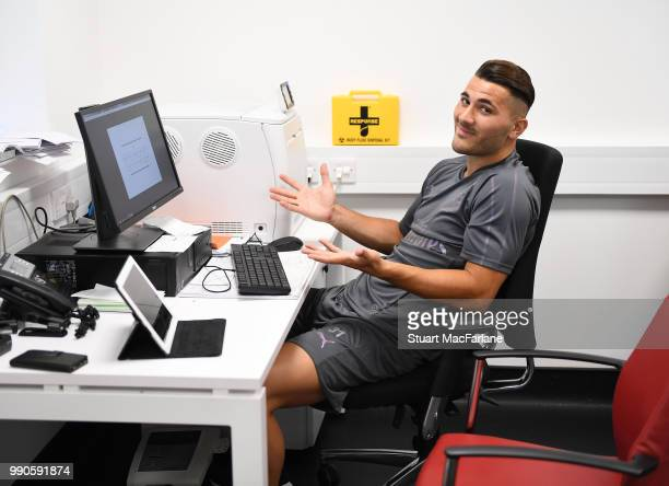 Sead Kolasinac of Arsenal attends a medical screening session at London Colney on July 3 2018 in St Albans England