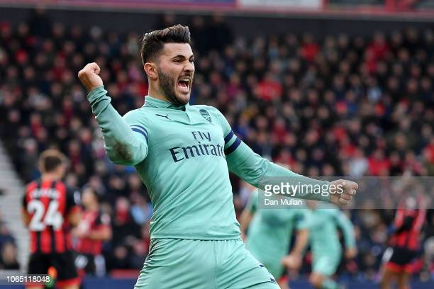 Sead Kolasinac of Arsenal celebrates his team's second goal during the Premier League match between AFC Bournemouth and Arsenal FC at Vitality...