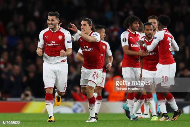Sead Kolasinac of Arsenal celebrates scoring the first Arsenal goal with team mates during the UEFA Europa League group H match between Arsenal FC...
