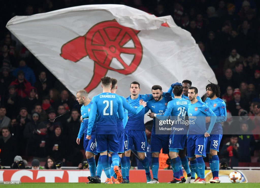 Sead Kolasinac of Arsenal celebrates scoring the first Arsenal goal with team mates during UEFA Europa League Round of 32 match between Arsenal and Ostersunds FK at the Emirates Stadium on February 22, 2018 in London, United Kingdom.
