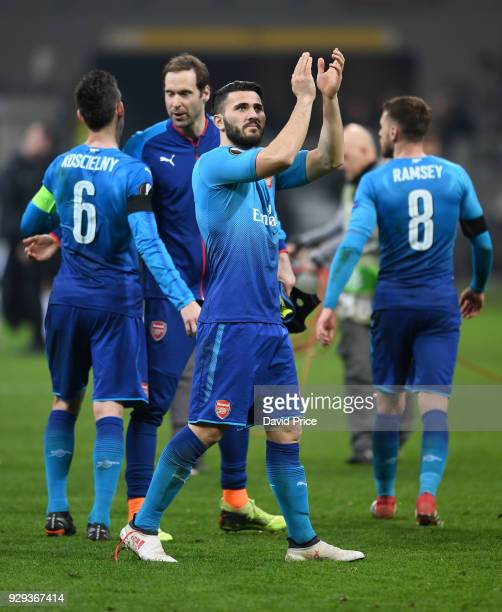 Sead Kolasinac of Arsenal claps the fans after UEFA Europa League Round of 16 match between AC Milan and Arsenal at the San Siro on March 8 2018 in...