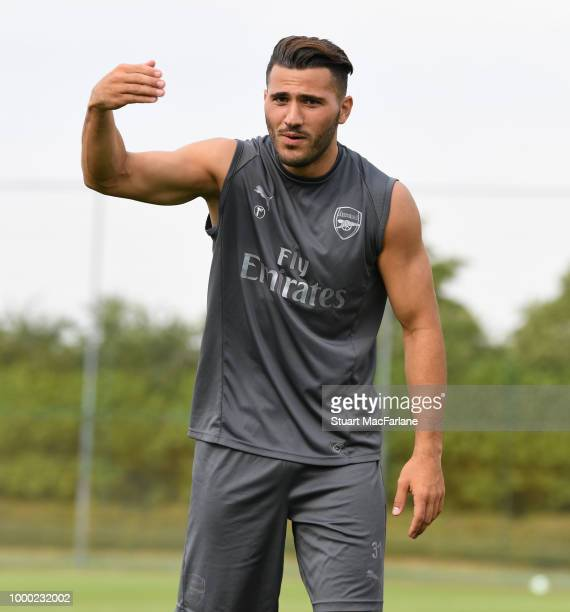 Sead Kolasinac of Arsenal during a training session at London Colney on July 16 2018 in St Albans England