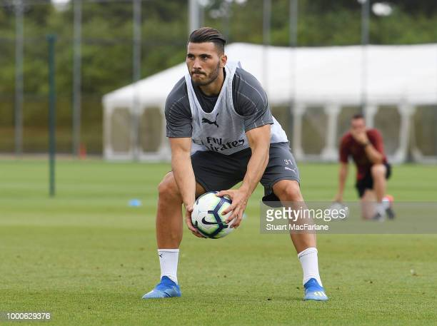 Sead Kolasinac of Arsenal during a training session at London Colney on July 17 2018 in St Albans England