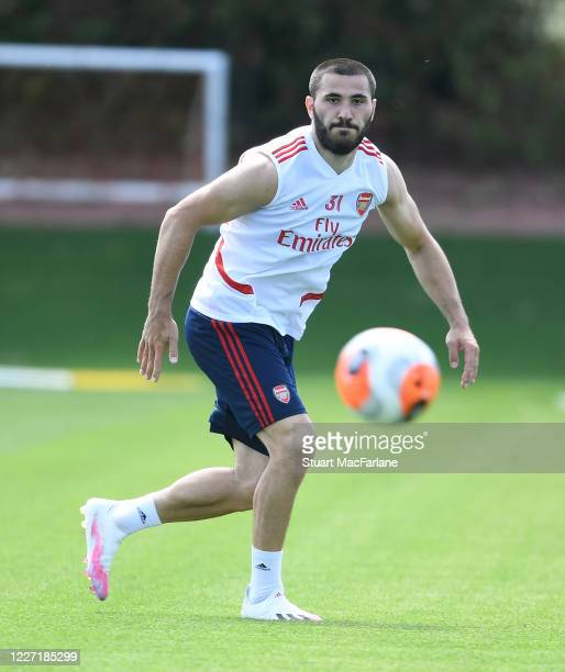 Sead Kolasinac of Arsenal during a training session at London Colney on May 26 2020 in St Albans England