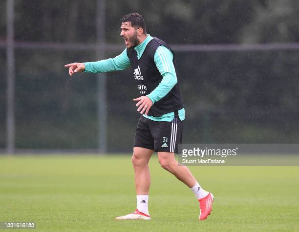 Sead Kolasinac of Arsenal during a training session at London Colney on July 30, 2021 in St Albans, England.