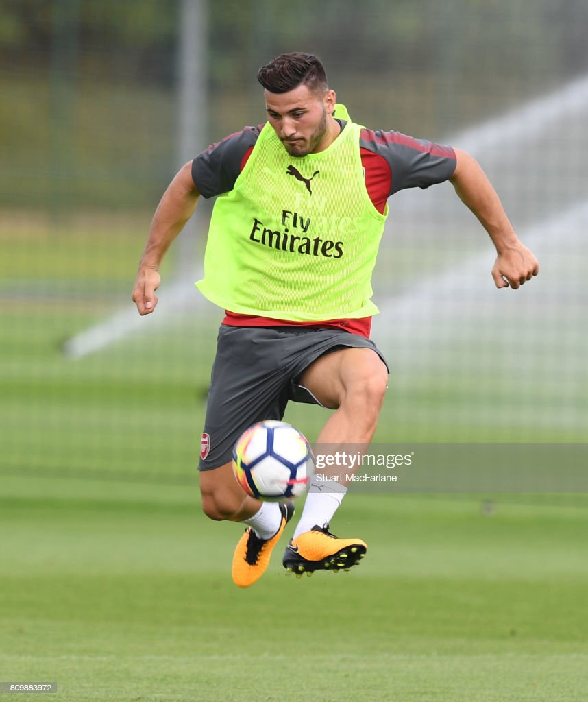 Sead Kolasinac of Arsenal during a training session at London Colney on July 6, 2017 in St Albans, England.