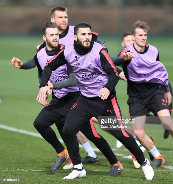 Sead Kolasinac of Arsenal during a training session at London Colney on March 14 2018 in St Albans England