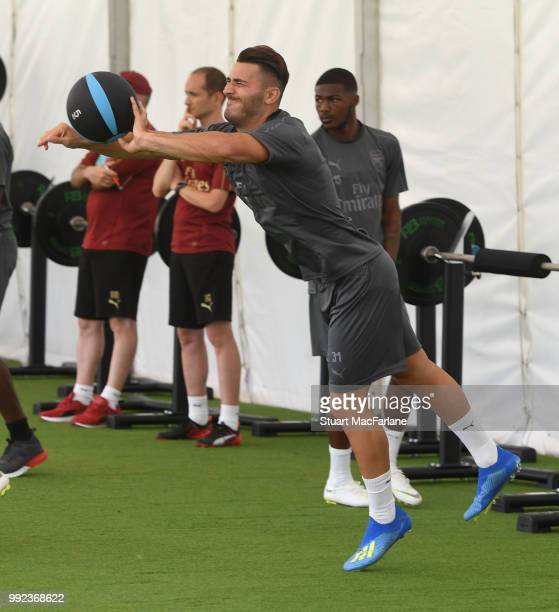 Sead Kolasinac of Arsenal during a training session at London Colney on July 5 2018 in St Albans England